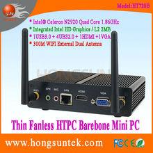 HT720B Intel Celeron N2920 1.86GHz Quad Core 4 Threads Thin Client Fanless Barebone Mini computer with USB, WiFi and VGA
