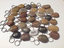 Zen Stone Key Ring - Highly Polished Engraved Inspirational Zen Pocket Wish Worry TXT Word Garden Inspire Motivate Stone
