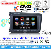 Win CE 6.0 car dvd player for Honda Civic 2012 left with GPS+TV+Radio+3G+BT+DVR+Camera+ DH8006