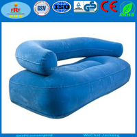 Blue Flocked Inflatable Double Sofa, Inflatable Two Person Sofa