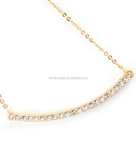 CRYSTAL TINY CURVED BAR PENDANT NECKLACE