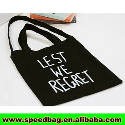 Black canvast tote bag with costom LOGO blan tote bags recyclable shopping cotton bag