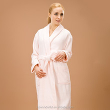 pink shawl collar terry contain 100% cotton nightgown plus size sleeping clothes for couples at home and spa