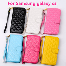 i9500 mobile phone cover fashion frame wallet lanyard for samsung galaxy s4 case