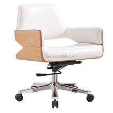 2015 Haiyue HY2008 Top sale morden white leather seat & back wood finish office chair