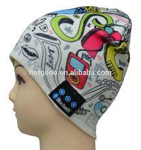 Nuevo diseño Heat Tranfer Impresión Bluetooth sombrero de música con auriculares