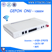 Fiber media converter,4 LAN port 2 phone port FTTH CATV indoor ONU EPON WiFi router