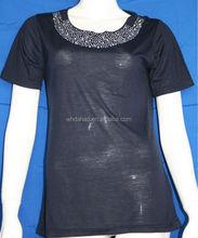 Beaded neck fashion cotton short sleeve ladies t shirt