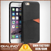 QIALINO Custom Color Super Quality Top Layer Leather Vertical Flip Leather Case For Iphone 6S Plus