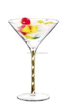 275 ml Lead-free Crystal Vodak Glass Diamond Twisted Stem Cocktail Glass Martini Glass