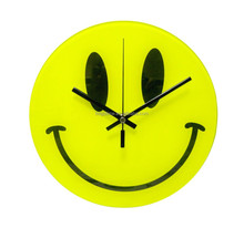 2015 hot new decorative smile face mirror glass wall clock for kids