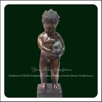 Life Size Bronze Fish Children Nude Boy Statues