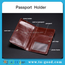 Wholesale Fashion New Promotion Cowhide Genuine Leather Passport Case