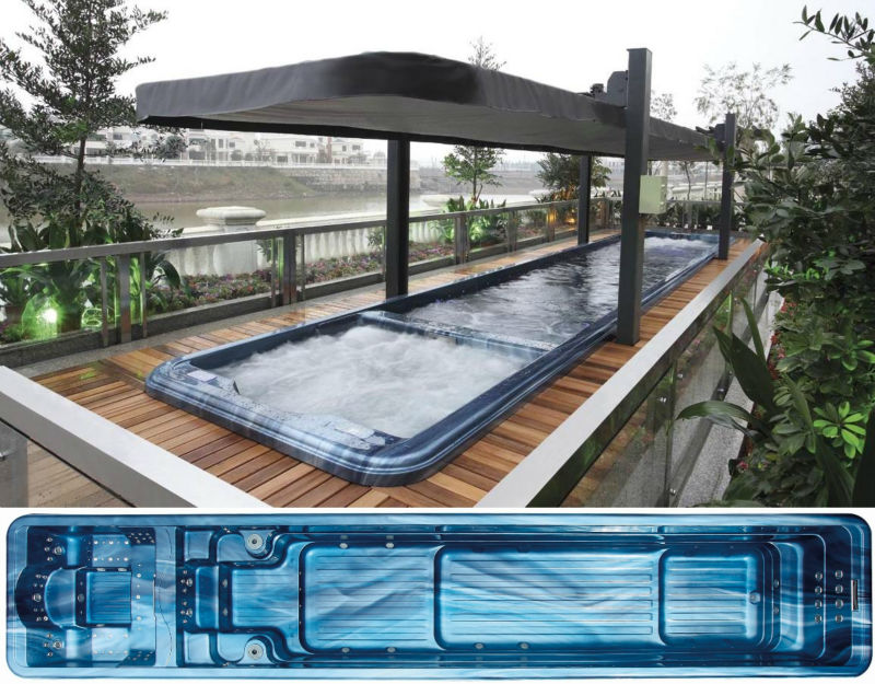 Spa product fiberglass swimming pool massage hot tub combo for Spa swimming pool