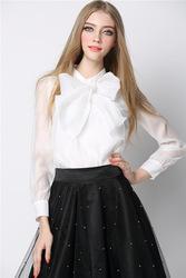 women long-sleeved silk blouse bow blouse female heavy silk shirt Ladies Blouses Tops
