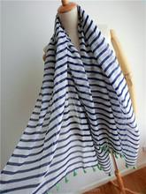 2015 Large Size Blue And White Stripes Cotton Scarves Shawl Wholesale