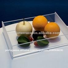 Claro quadrados de acrílico prato de frutas, bandeja de comida