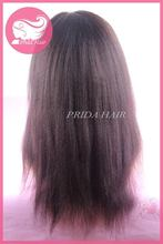 Quality new products yaki straight with bang front lace wig