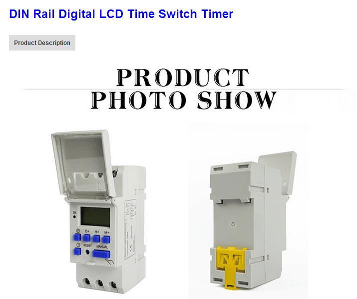 Rail DIN Numérique LCD Minuterie Minuterie