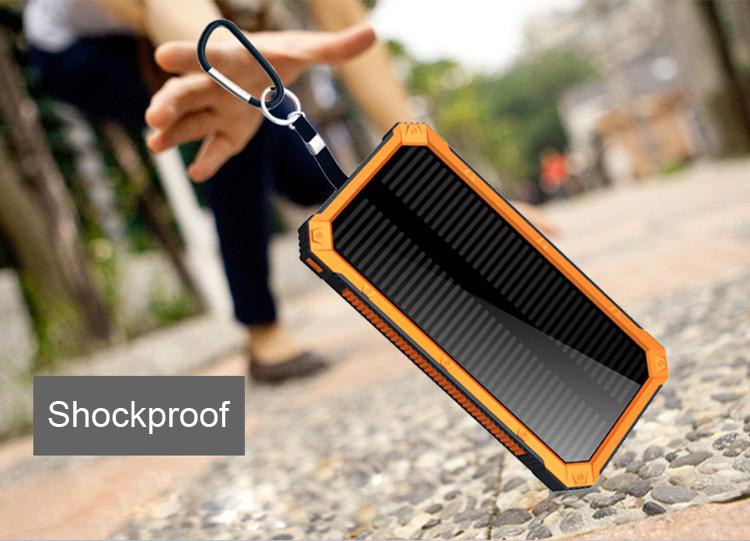 Shockproof 12000mah solar power bank