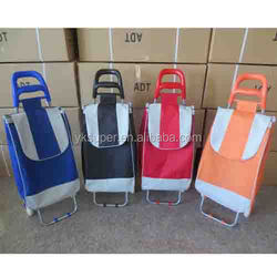 Practical folding trolley shopping bag with 2 wheels