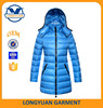 goose down lady jacket long padded jacket with hoody