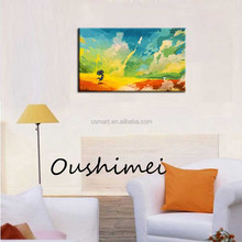 excellent Bright scenery characters decoration wall essentialswholesell price hand-painted oil painting in the canvas