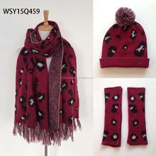 New arrival knit fashion scarf hat glove set for ladies leopard scarves hat glove