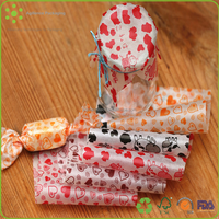 2015 Color Printable Christmas One Side Wax Coated Cheap Visible Glassine Waxed Paper for Nougat Wrapping