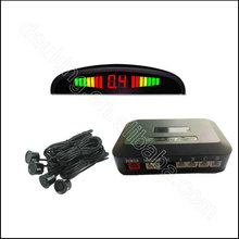 Hot sale Auto 12v 22m Reverse Sensor Wire Car asistant Backup Radar With 4 sensors+Double CPU LED Display Reverse Parking System