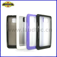 Hot Selling Soft Skin Shiny TPU+Transparent PC Case Back Cover for Samsung Galaxy S2 I9100