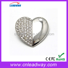 High-end usb gift Best quality pen drives necklace jewelry usb heart usb drive