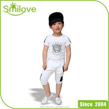 Latest tops Korean designs boys wholesale lion printing kids summer clothing sets