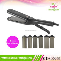 Detachable plate 4 in 1 ceramic hair straightener with teeth