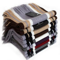 2015 New Men Winter Classical Striped Artificial Wool Scarf Men Tassels Scarf Long Pashmina Shawls