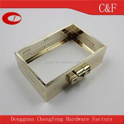 High quality Light gold Metal purse box clutch frame with custom logo kiss lock