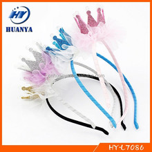 cute ribbon covered headbands with tiara for girls wholesale