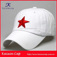 oem white colored embroidery star designed cheap baseball caps