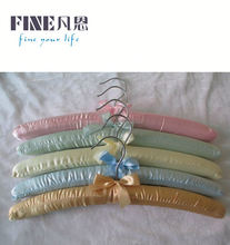 baby sleeping pad embroidery padded hanger,white colour,satin fabric and ribbon bow tie around hook.