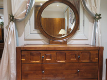 DR0902 solid wood frame round mirror with 3 drawer tall dresser