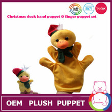 2015 New making Christmas yellow duck plush puppets doll & finger puppet