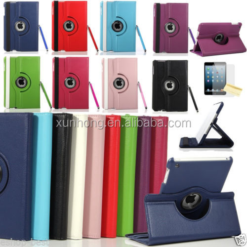 C1296 Smart Leather Cover Case for iPad mini Screen Protector + touch Pen