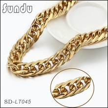Gold plated jewelry wholesale stainless steel high polishing necklace chain for men