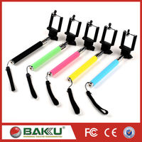 2015 BAKU hotsale Solid color hand hold foldable cable take pole selfie stick