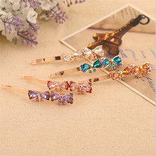 2015 Hot Sale Wholesale alloy double bows Girls hair pins