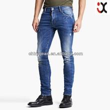 2015 Fashion men's 5 pockets blue denim jeans slim straight cotton jeans(JXL21995)
