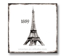Placa de madera famoso edificio pinturas torre Eiffel