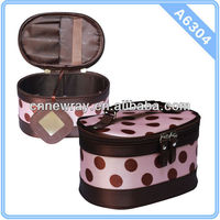 Cosmetic Organizer Pink Polka Dot With Mirror PVC Cosmetic Bag