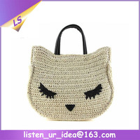 Wholesale Lovely Girls Fox Shape Animal Straw Bag