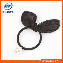 Latest New style fancy lace rabbit ear small elastic hair bands
